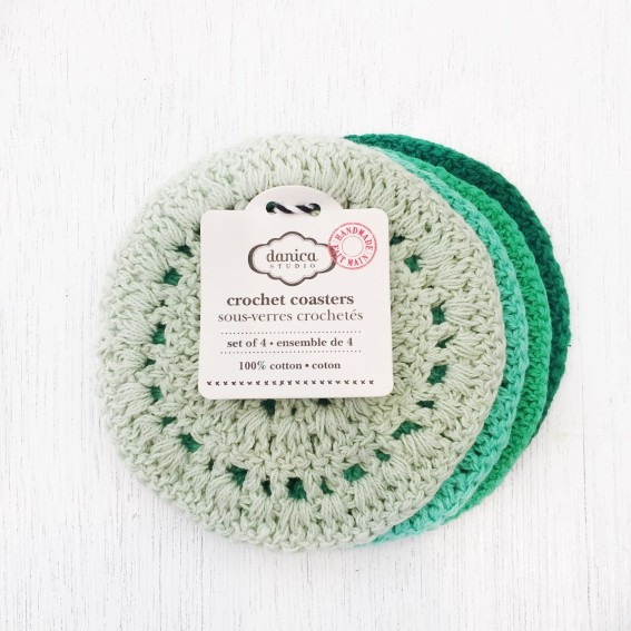 Twig-and-feather-hemlock-green-crochet-coasters-set