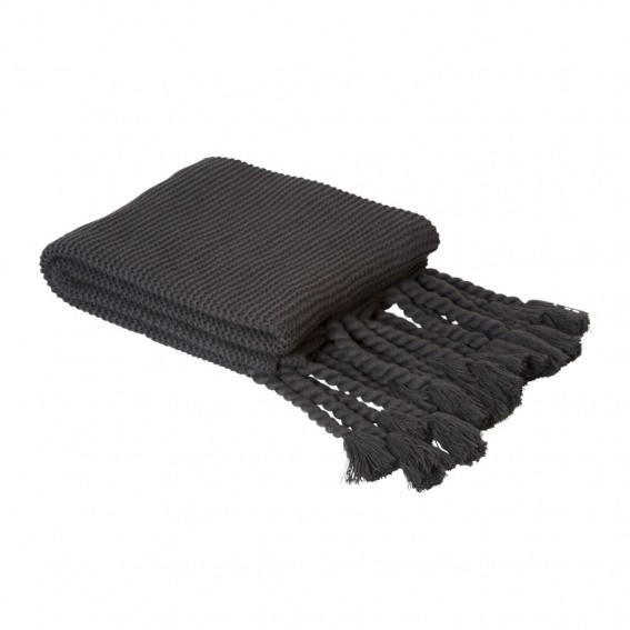 Twig-and-feather-charcoal-knitted-throw-with-tassles